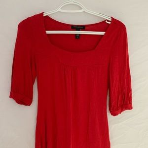 Red, Square Neck, 3/4 Sleeve Tee